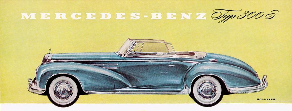 Mercedes-Benz Typ 300 Sc Roadster (W 188 II). Von 1956 bis 1958 wurden nur 53 Exemplare gebaut. Zeichnung aus dem Prospektblatt von 1955.