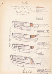 Mercedes-Benz SL (R 107, 1971 bis 1989). Dokument aus dem Design von Friedrich Geiger vom 16. Januar 1968 zur möglichen Kühlergrillgestaltung.