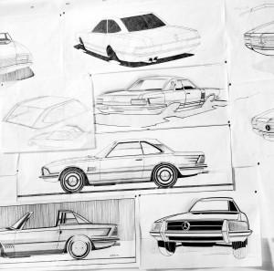 Entwicklungsphasen des 107ers. Ideenskizzen aus dem Design, die zwar nicht realisiert wurden, aber doch in Details Anklänge von stilistischen Merkmalen zeigen.